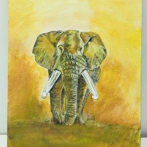 Bull Elephant Canvas Painting 9X12″